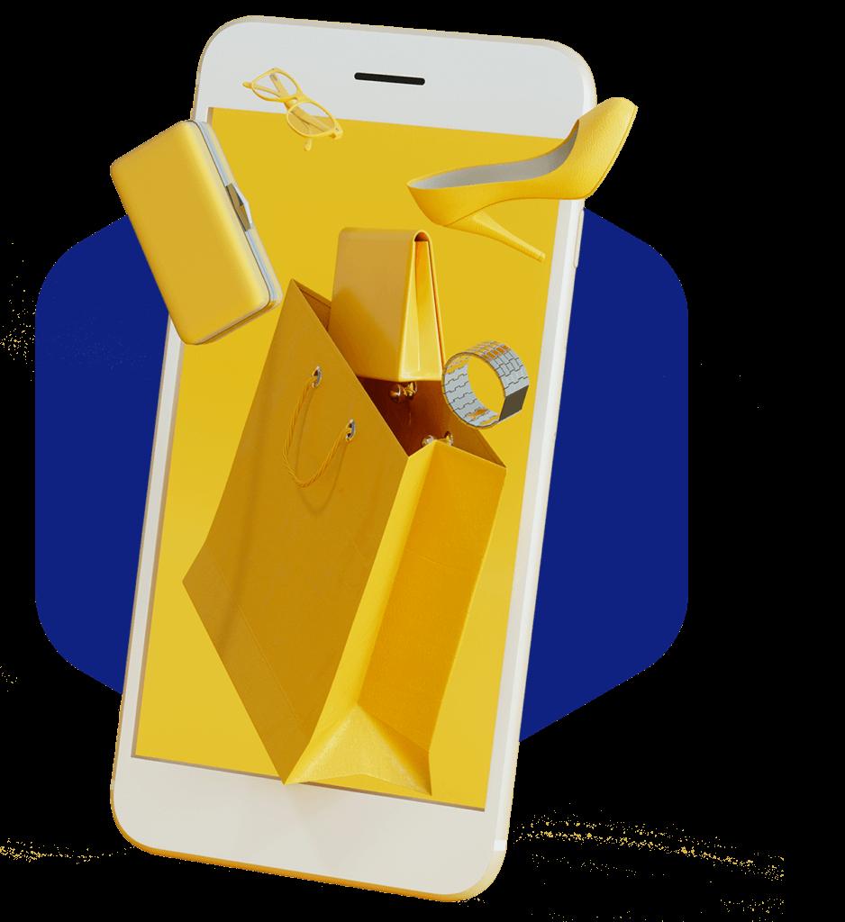 Puhelin, joka pursuaa ostoksia ulkopuolelle